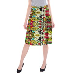 Chicken Monkeys Smile In The Floral Nature Looking Hot Midi Beach Skirt