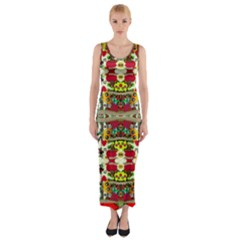 Chicken Monkeys Smile In The Floral Nature Looking Hot Fitted Maxi Dress