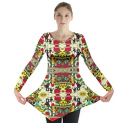 Chicken Monkeys Smile In The Floral Nature Looking Hot Long Sleeve Tunic