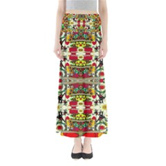 Chicken Monkeys Smile In The Floral Nature Looking Hot Full Length Maxi Skirt