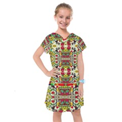 Chicken Monkeys Smile In The Floral Nature Looking Hot Kids  Drop Waist Dress