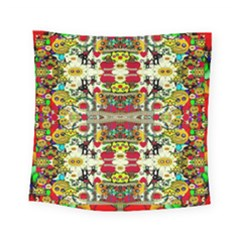 Chicken Monkeys Smile In The Floral Nature Looking Hot Square Tapestry (small)