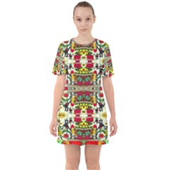 Chicken Monkeys Smile In The Floral Nature Looking Hot Sixties Short Sleeve Mini Dress