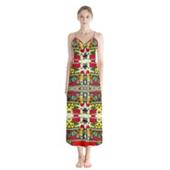 Chicken Monkeys Smile In The Floral Nature Looking Hot Button Up Chiffon Maxi Dress