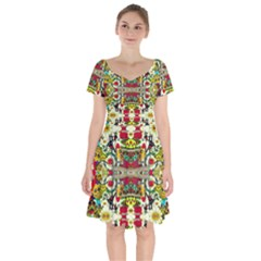 Chicken Monkeys Smile In The Floral Nature Looking Hot Short Sleeve Bardot Dress