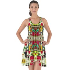 Chicken Monkeys Smile In The Floral Nature Looking Hot Show Some Back Chiffon Dress
