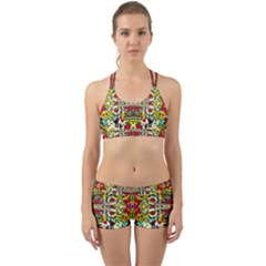 Chicken Monkeys Smile In The Floral Nature Looking Hot Back Web Sports Bra Set