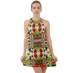 Chicken Monkeys Smile In The Floral Nature Looking Hot Halter Tie Back Chiffon Dress