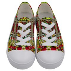 Chicken Monkeys Smile In The Floral Nature Looking Hot Kids  Low Top Canvas Sneakers