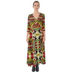 Chicken Monkeys Smile In The Floral Nature Looking Hot Button Up Boho Maxi Dress