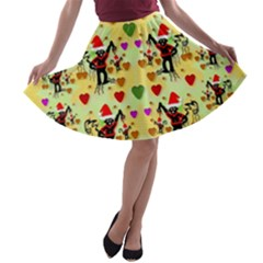 Santa With Friends And Season Love A Line Skater Skirt