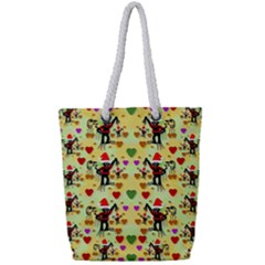 Santa With Friends And Season Love Full Print Rope Handle Bag (small)