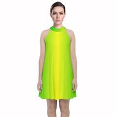 Pattern Velvet Halter Neckline Dress