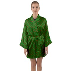 Red Stars On Christmas Green Background Long Sleeve Kimono Robe