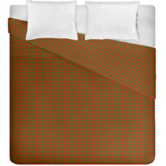 Classic Christmas Red And Green Houndstooth Check Pattern Duvet Cover Double Side (king Size)