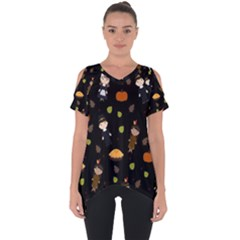 Pilgrims And Indians Pattern   Thanksgiving Cut Out Side Drop Tee