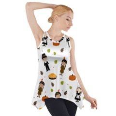 Pilgrims And Indians Pattern   Thanksgiving Side Drop Tank Tunic