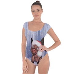 Christmas, Cute Little Piglet With Christmas Hat Short Sleeve Leotard