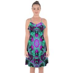Pattern Ruffle Detail Chiffon Dress