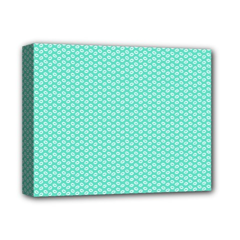 Tiffany Aqua Blue With White Lipstick Kisses Deluxe Canvas 14  X 11