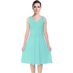 Tiffany Aqua Blue With White Lipstick Kisses V Neck Midi Sleeveless Dress