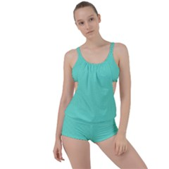 White Polkadot Hearts On Tiffany Aqua Blue  Boyleg Tankini Set