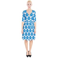 Blue & White Triangle Pattern  Wrap Up Cocktail Dress