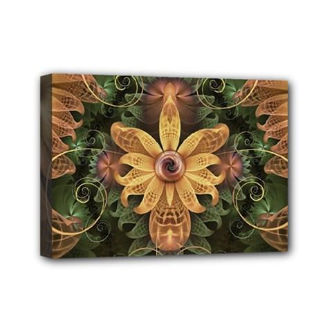 Beautiful Filigree Oxidized Copper Fractal Orchid Mini Canvas 7  X 5