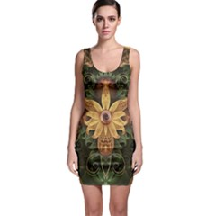 Beautiful Filigree Oxidized Copper Fractal Orchid Bodycon Dress