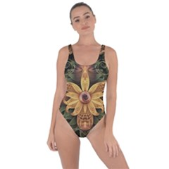 Beautiful Filigree Oxidized Copper Fractal Orchid Bring Sexy Back Swimsuit