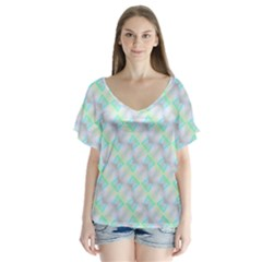 Pattern V Neck Flutter Sleeve Top