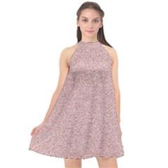 Pattern Halter Neckline Chiffon Dress