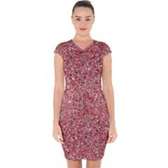 Pattern Capsleeve Drawstring Dress