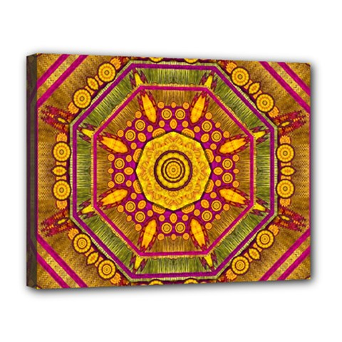 Sunshine Mandala And Other Golden Planets Canvas 14  X 11