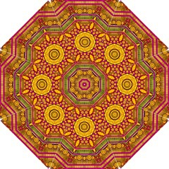 Sunshine Mandala And Other Golden Planets Hook Handle Umbrellas (small)