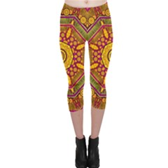 Sunshine Mandala And Other Golden Planets Capri Leggings