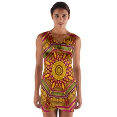 Sunshine Mandala And Other Golden Planets Wrap Front Bodycon Dress