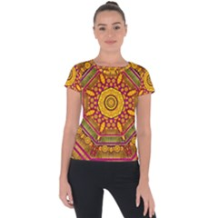 Sunshine Mandala And Other Golden Planets Short Sleeve Sports Top