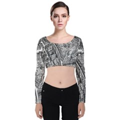 Frankfurt Judengasse Velvet Long Sleeve Crop Top