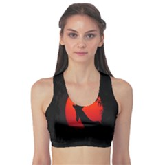 Giraffe Animal Africa Sunset Sports Bra