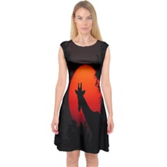 Giraffe Animal Africa Sunset Capsleeve Midi Dress