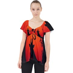Giraffe Animal Africa Sunset Lace Front Dolly Top