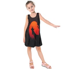 Giraffe Animal Africa Sunset Kids  Sleeveless Dress