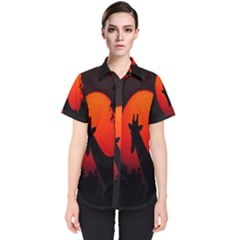 Giraffe Animal Africa Sunset Women s Short Sleeve Shirt