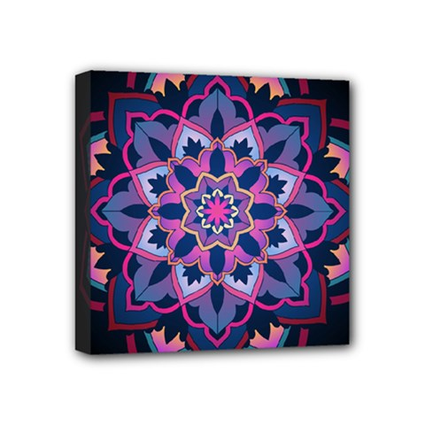 Mandala Circular Pattern Mini Canvas 4  X 4