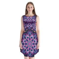 Mandala Circular Pattern Sleeveless Chiffon Dress