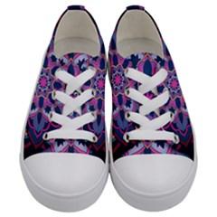 Mandala Circular Pattern Kids  Low Top Canvas Sneakers