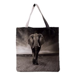 Elephant Black And White Animal Grocery Tote Bag