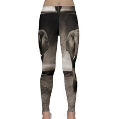 Elephant Black And White Animal Classic Yoga Leggings