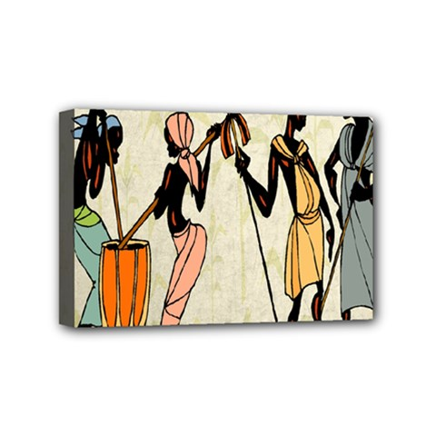 Man Ethic African People Collage Mini Canvas 6  X 4